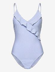 Becksöndergaard - Striba Frill Swimsuit - badedrakter - blue - 1
