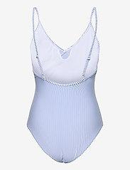 Becksöndergaard - Striba Frill Swimsuit - badedrakter - blue - 2