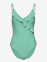 Becksöndergaard - Striba Frill Swimsuit - badedrakter - golf green - 0