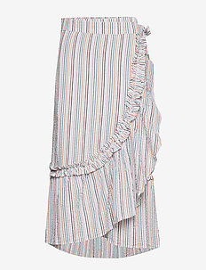 Striped Camillia Long Skirt - midi rokken - green