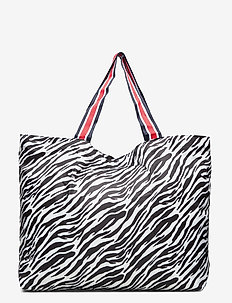 Zebra Foldable Bag - shoppers - black