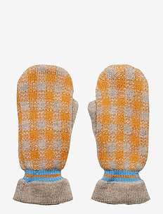 Emerald Winter Check Mittens - MELANGE BROWN