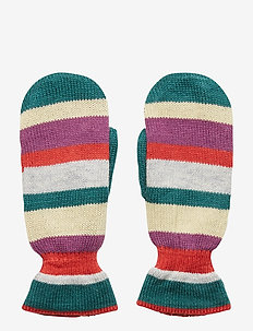Emerald Lovely Stripes Mittens - PETROL