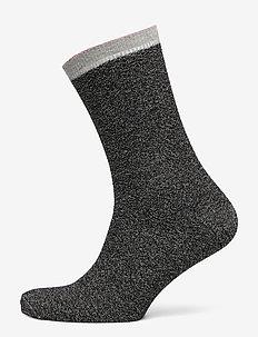 Dana Herringbone Frill Sock - BLACK