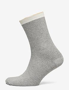 Dana Herringbone Frill Sock - LIGHT GREY