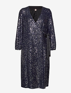 Sequins Everlee Dress - slå-om-kjoler - blue