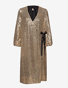 Sequins Everlee Dress - slå-om-kjoler - gold