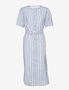 Striped Casey Long - midi kjoler - dusty blue