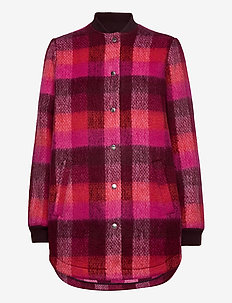 Check Woods Jacket - wool jackets - pink