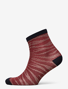 Zebra Glitzi Sock - socks - mahogany