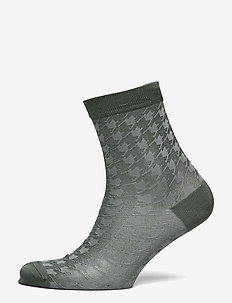 Houndstooth Sora Sock - socks - duck green