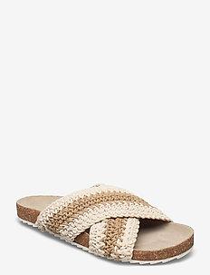 Yvonne Crochet Sandal - platta sandaler - white