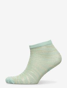 Zebra Glitzi Sock - footies - blue surf
