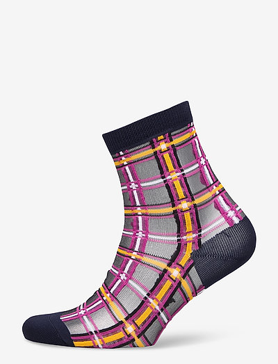 Dagmar Multi Check Sock - ankelstrømper - classic navy