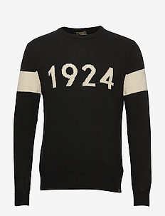 INTARSIA 1924 CREW NECK - BLACK/BIRCH