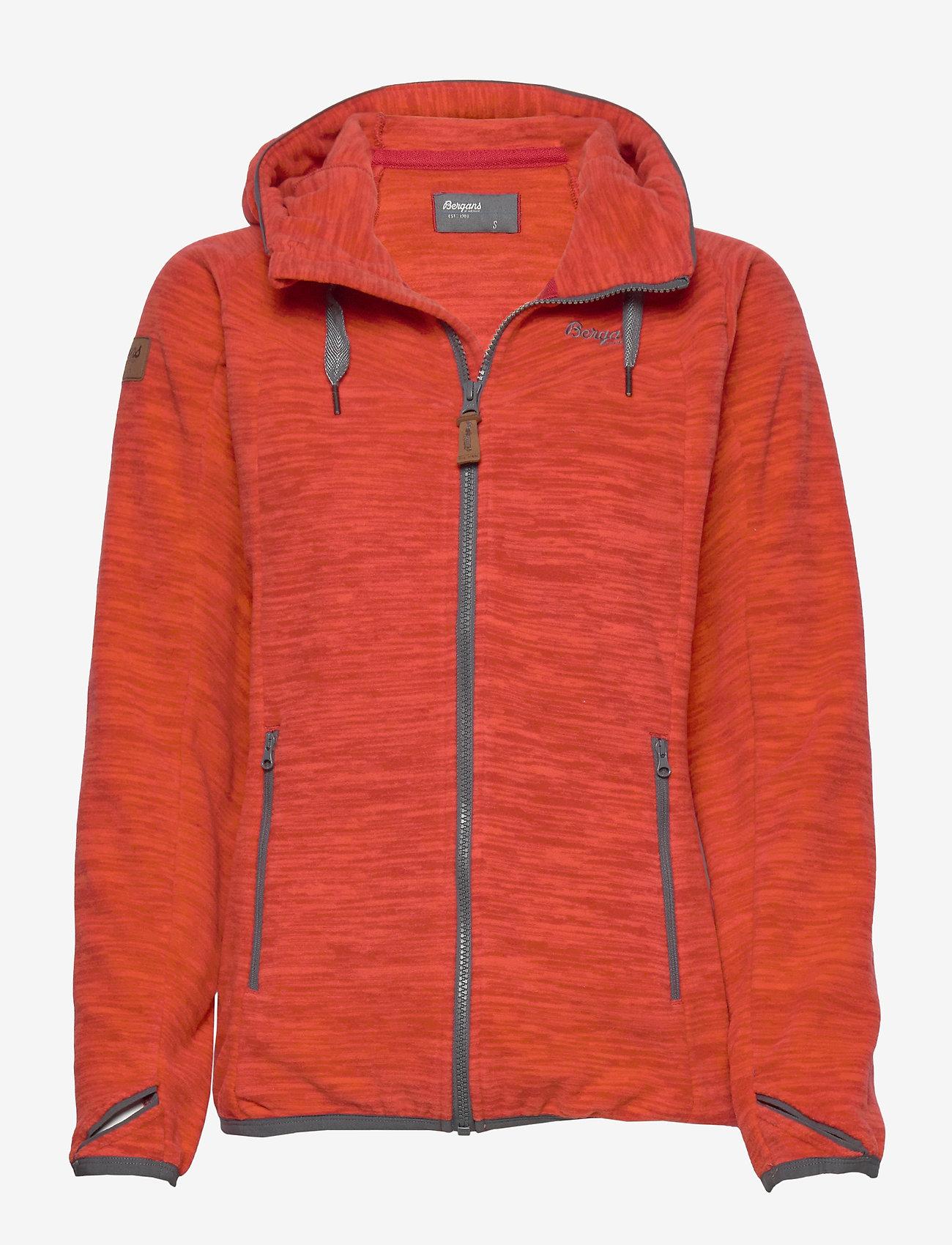 Bergans - Hareid Fleece W Jkt - fleece midlayer - red mel/soliddkgrey - 0