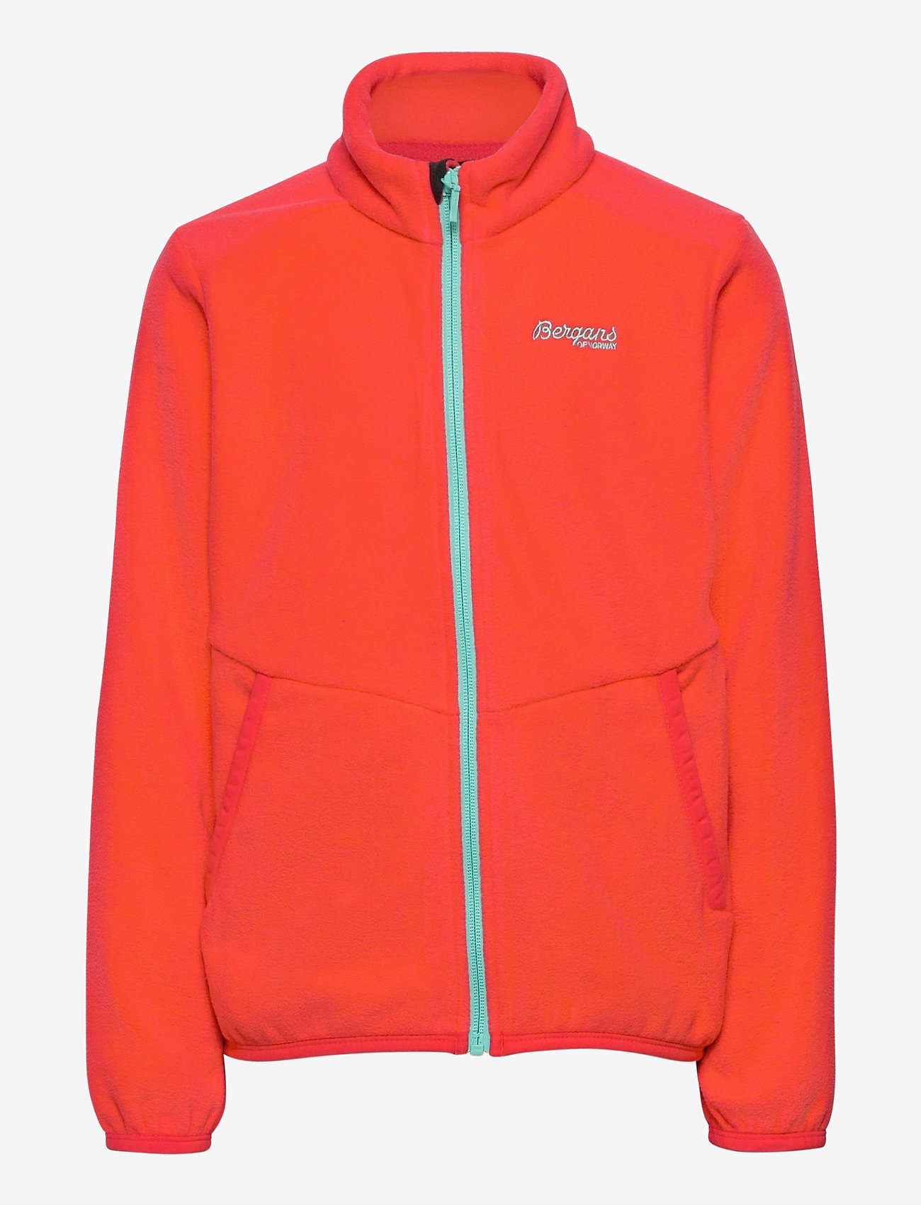 Bergans - Lilletind Fleece Kids Jkt - fleecetøj - lt dahliared/lt greenlake - 0