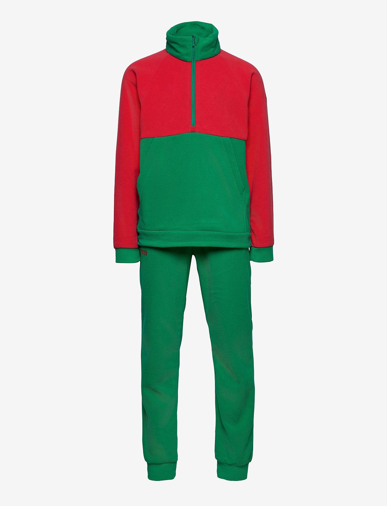 Bergans - Smdl V4 Kids Set - fleecetøj - dahliared/greenlake - 0