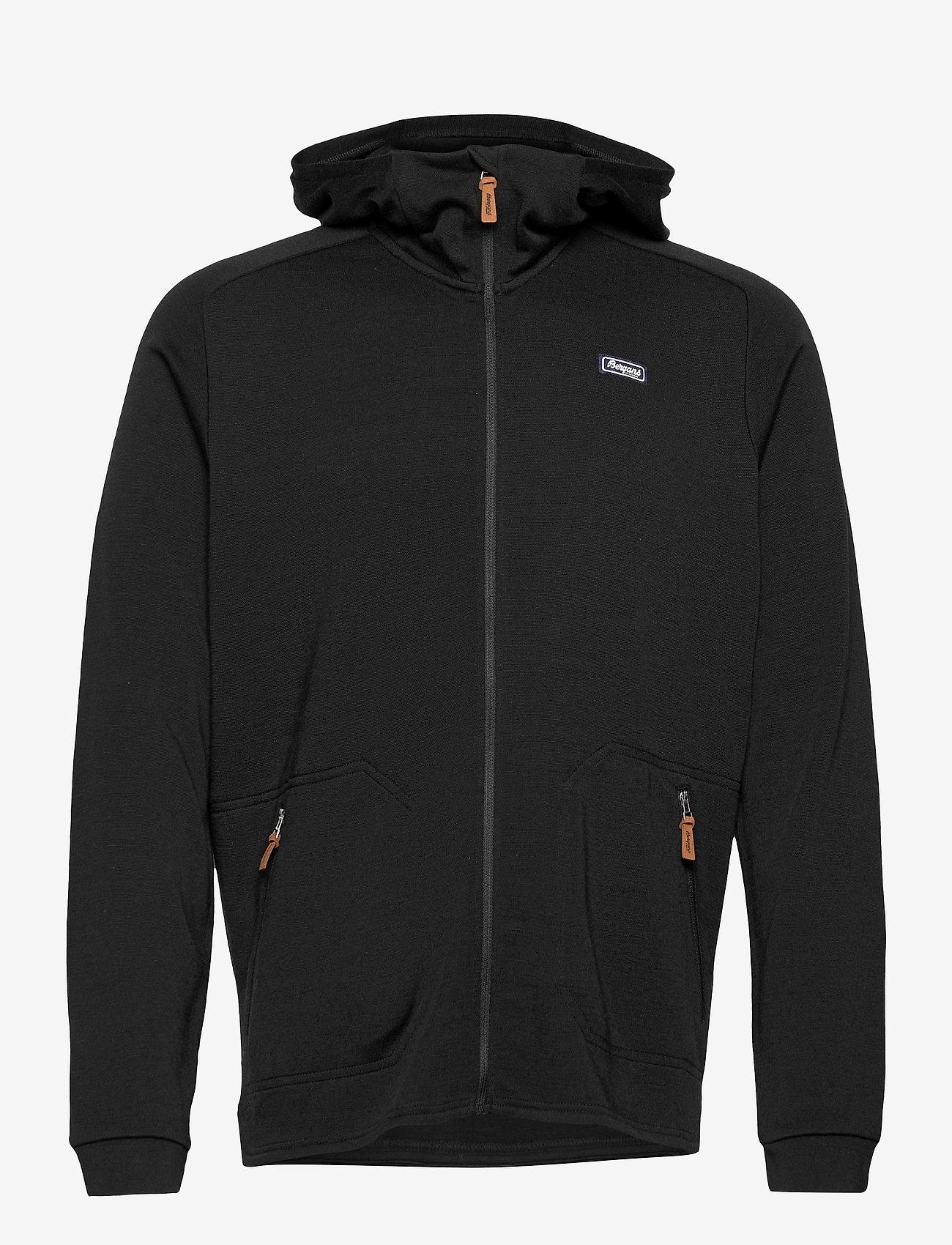 Bergans - Tuva Light Wool Hood Jkt - basic sweatshirts - black - 0