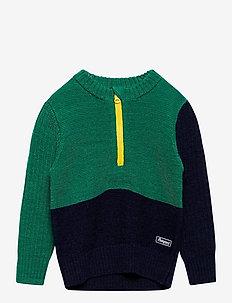 Ulriken Wool Kids Jumper - neuleet - greenlake/navy/waxedyellow
