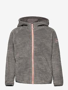 Hareid Youth Girl Jkt - hoodies - solid dark grey melange / pastel pink