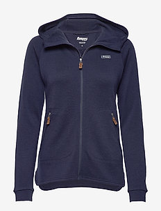 Tuva Light Wool Hood W Jkt - wool midlayer - navy