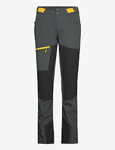 Cecilie Mtn Softshell Pnt - friluftsbyxor - solid dark grey / solid charcoal / light golden yellow