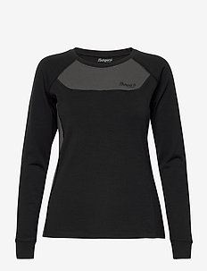 Cecilie Wool Long Sleeve - góry - black / solid charcoal