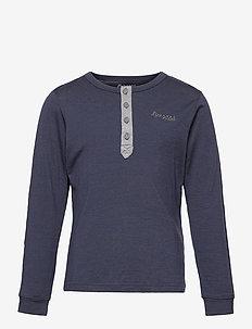 Myske Wool Youth Shirt - lange mouwen - navy melange / solid dark grey