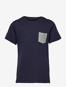 Myske Wool Youth Tee - korte mouwen - navy melange / solid grey