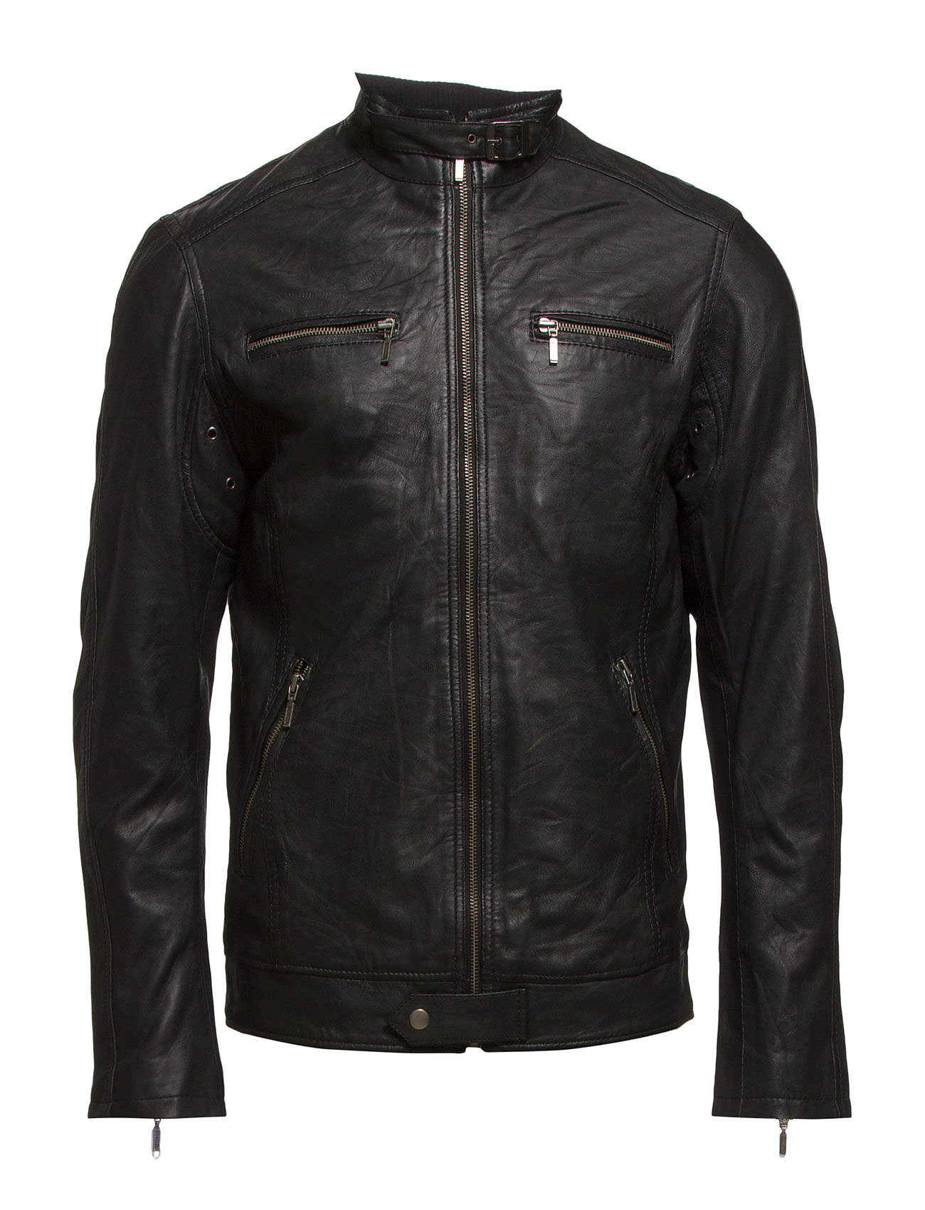 Bertoni Leather Jacket - 997 JET BLACK