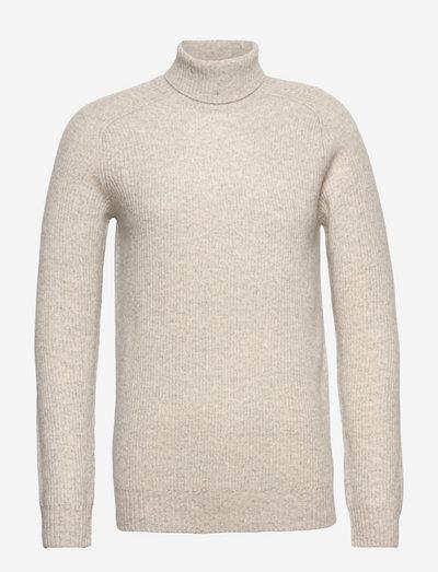Eli Regular High Neck Knit - basic strik - 113 bone grey melange
