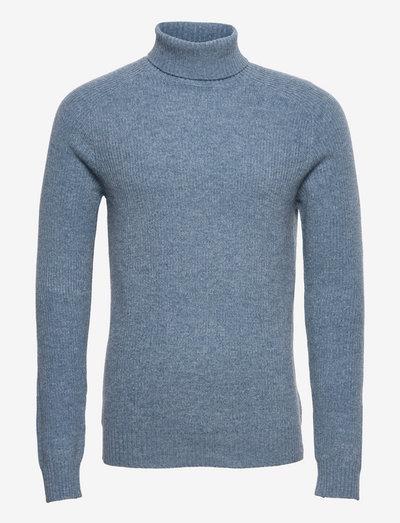 Eli Regular High Neck Knit - basic strik - 700 dusty blue