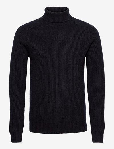 Eli Regular High Neck Knit - basic strik - 781 midnight