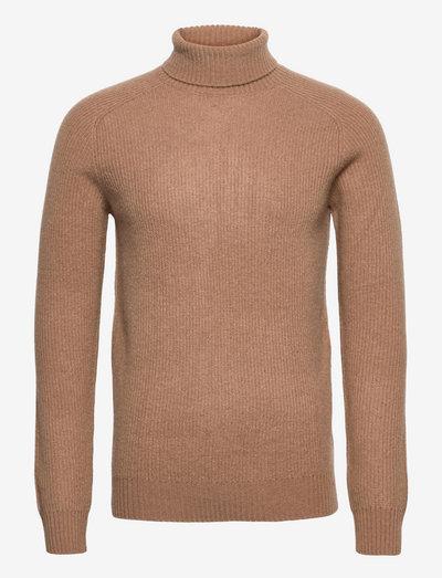 Eli Regular High Neck Knit - basic strik - 815 camel