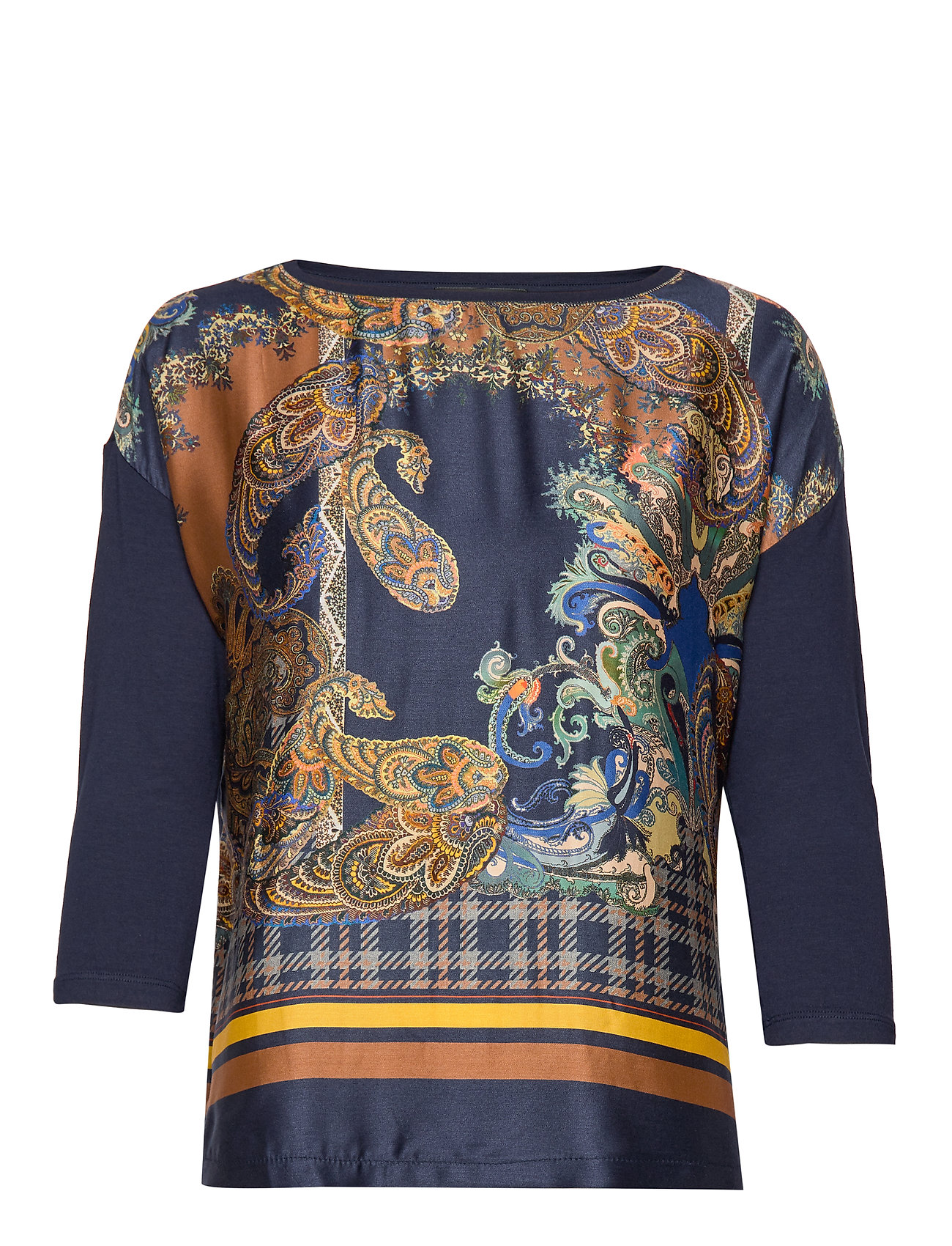 Betty Barclay Shirt Long 3/4 Sleeve - DARK BLUE/BROWN