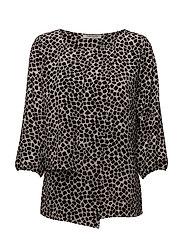 Blouse Short 3/4 Sleeve - BLACK-NATURE