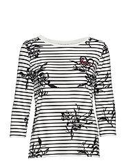 Shirt Short 3/4 Sleeve - CREAM/BLACK