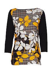 Betty Barclay Shirt Long 3/4 Sleeve - BLACK/YELLOW