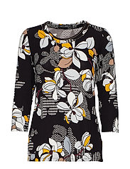 Betty Barclay Shirt Short 3/4 Sleeve - BLACK/YELLOW