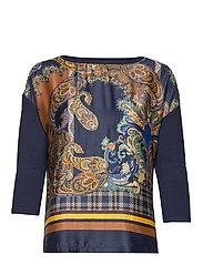 Shirt Long 3/4 Sleeve - DARK BLUE/BROWN