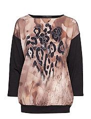 Shirt Short 3/4 Sleeve - BLACK/CAMEL