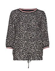 Blouse Short 3/4 Sleeve - BLACK/CAMEL