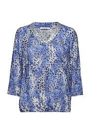 Blouse Short 3/4 Sleeve - DARK BLUE/BLUE