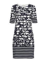 Dress Short 1/2 sleeve - DARK BLUE/CREAM