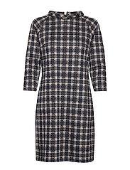 Dress Short 3/4 sleeve - DARK BLUE/BROWN