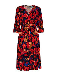 Betty Barclay Dress Short 3/4 sleeve - RED/DARK BLUE