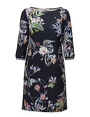Dress Short 3/4 sleeve - DARK BLUE/PINK