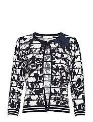 Knitted Jacket Short 3/4 Sleev - DARK BLUE/CREAM