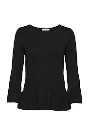 Knitted Pullover Short 3/4 Sle - BLACK